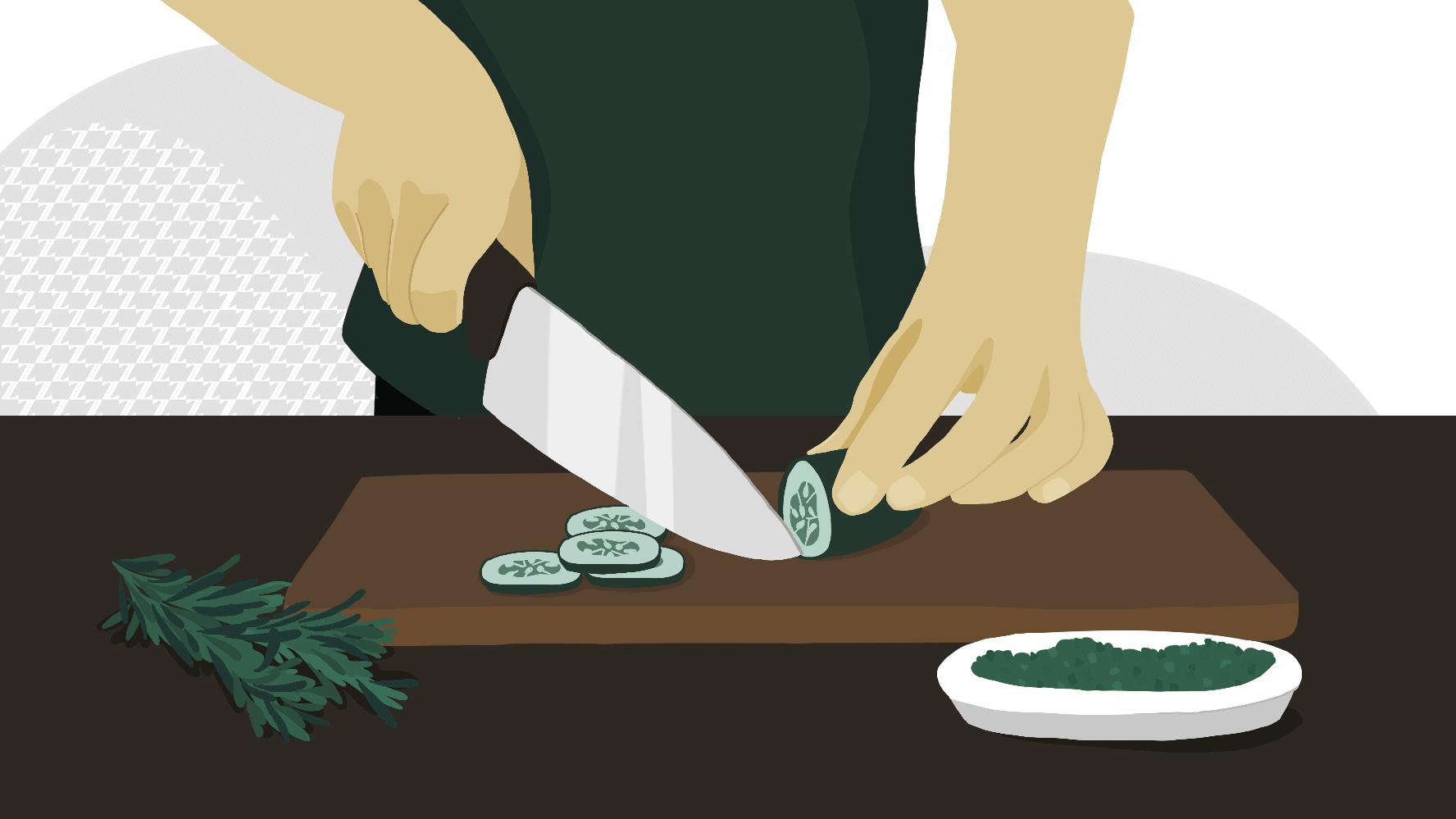 Create a rosemary oil & cucumber rub