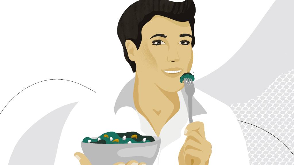 a man eating a healthy salad